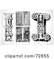 Royalty Free RF Clipart Illustration Of A Digital Collage Of Black And White Letters I Version 1 by BestVector