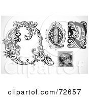Royalty Free RF Clipart Illustration Of A Digital Collage Of Black And White Letters Q Version 3