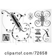Royalty Free RF Clipart Illustration Of A Digital Collage Of Black And White Letters X Version 3
