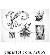 Royalty Free RF Clipart Illustration Of A Digital Collage Of Black And White Letters V Version 1
