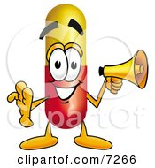 Clipart Picture Of A Medicine Pill Capsule Mascot Cartoon Character Holding A Megaphone