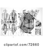 Royalty Free RF Clipart Illustration Of A Digital Collage Of Black And White Letters H Version 3