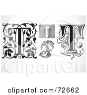 Royalty Free RF Clipart Illustration Of A Digital Collage Of Black And White Letters T Version 3 by BestVector