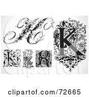 Royalty Free RF Clipart Illustration Of A Digital Collage Of Black And White Letters K Version 3 by BestVector