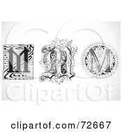Royalty Free RF Clipart Illustration Of A Digital Collage Of Black And White Letters M Version 2