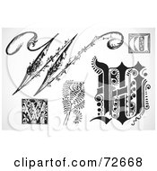 Royalty Free RF Clipart Illustration Of A Digital Collage Of Black And White Letters W Version 1 by BestVector