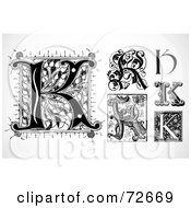 Royalty Free RF Clipart Illustration Of A Digital Collage Of Black And White Letters K Version 1