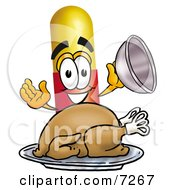 Clipart Picture Of A Medicine Pill Capsule Mascot Cartoon Character Serving A Thanksgiving Turkey On A Platter