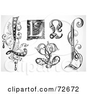 Royalty Free RF Clipart Illustration Of A Digital Collage Of Black And White Letters L Version 3 by BestVector