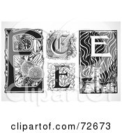 Royalty Free RF Clipart Illustration Of A Digital Collage Of Black And White Letters E Version 2