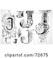 Royalty Free RF Clipart Illustration Of A Digital Collage Of Black And White Letters J Version 1
