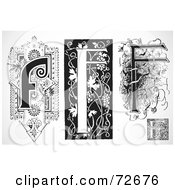 Royalty Free RF Clipart Illustration Of A Digital Collage Of Black And White Letters F Version 3
