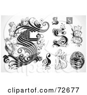 Royalty Free RF Clipart Illustration Of A Digital Collage Of Black And White Letters S Version 1