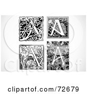 Royalty Free RF Clipart Illustration Of A Digital Collage Of Black And White Vintage Letters A Version 3