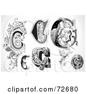 Royalty Free RF Clipart Illustration Of A Digital Collage Of Black And White Letters C Version 1