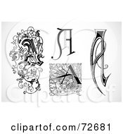 Royalty Free RF Clipart Illustration Of A Digital Collage Of Black And White Vintage Letters A Version 4