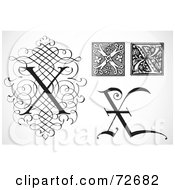 Royalty Free RF Clipart Illustration Of A Digital Collage Of Black And White Letters X Version 1