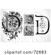 Royalty Free RF Clipart Illustration Of A Digital Collage Of Black And White Letters D Version 2