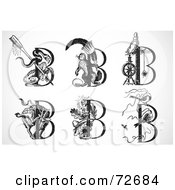 Royalty Free RF Clipart Illustration Of A Digital Collage Of Black And White Animal Letters B by BestVector