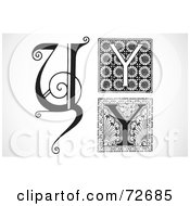 Royalty Free RF Clipart Illustration Of A Digital Collage Of Black And White Letters Y Version 2