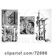 Royalty Free RF Clipart Illustration Of A Digital Collage Of Black And White Letters H Version 1