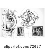 Royalty Free RF Clipart Illustration Of A Digital Collage Of Black And White Letters D Version 3