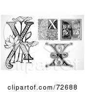Royalty Free RF Clipart Illustration Of A Digital Collage Of Black And White Letters X Version 2