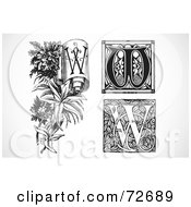 Royalty Free RF Clipart Illustration Of A Digital Collage Of Black And White Letters W Version 2