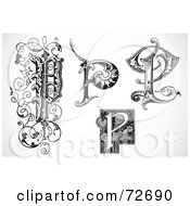 Royalty Free RF Clipart Illustration Of A Digital Collage Of Black And White Letters P Version 2