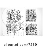 Royalty Free RF Clipart Illustration Of A Digital Collage Of Black And White Letters E Version 1