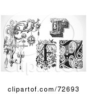 Royalty Free RF Clipart Illustration Of A Digital Collage Of Black And White Letters F Version 1