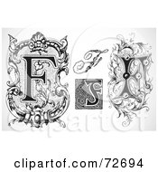 Royalty Free RF Clipart Illustration Of A Digital Collage Of Black And White Letters F Version 2