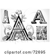 Royalty Free RF Clipart Illustration Of A Digital Collage Of Black And White Vintage Letters A Version 1
