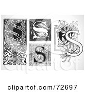 Royalty Free RF Clipart Illustration Of A Digital Collage Of Black And White Letters S Version 2