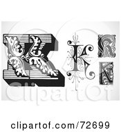 Royalty Free RF Clipart Illustration Of A Digital Collage Of Black And White Letters K Version 2