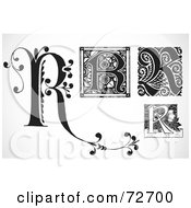 Royalty Free RF Clipart Illustration Of A Digital Collage Of Black And White Letters R Version 2