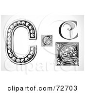Royalty Free RF Clipart Illustration Of A Digital Collage Of Black And White Letters C Version 3