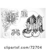 Royalty Free RF Clipart Illustration Of A Digital Collage Of Black And White Letters M Version 3