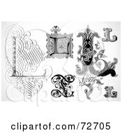 Royalty Free RF Clipart Illustration Of A Digital Collage Of Black And White Letters L Version 1
