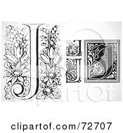 Royalty Free RF Clipart Illustration Of A Digital Collage Of Black And White Letters J Version 3