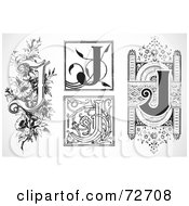 Royalty Free RF Clipart Illustration Of A Digital Collage Of Black And White Letters J Version 2