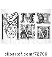 Royalty Free RF Clipart Illustration Of A Digital Collage Of Black And White Letters M Version 1