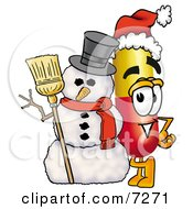 Clipart Picture Of A Medicine Pill Capsule Mascot Cartoon Character With A Snowman On Christmas