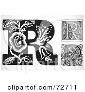 Royalty Free RF Clipart Illustration Of A Digital Collage Of Black And White Letters R Version 3