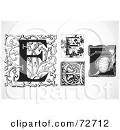 Royalty Free RF Clipart Illustration Of A Digital Collage Of Black And White Letters E Version 3