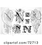 Royalty Free RF Clipart Illustration Of A Digital Collage Of Black And White Letters N Version 1