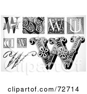 Royalty Free RF Clipart Illustration Of A Digital Collage Of Black And White Letters W Version 3