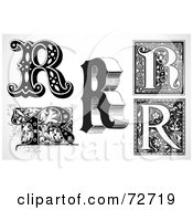 Royalty Free RF Clipart Illustration Of A Digital Collage Of Black And White Letters R Version 1