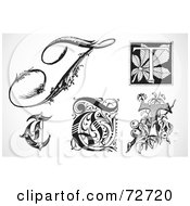 Royalty Free RF Clipart Illustration Of A Digital Collage Of Black And White Letters T Version 2