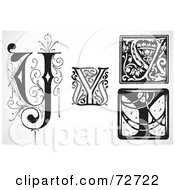 Royalty Free RF Clipart Illustration Of A Digital Collage Of Black And White Letters Y Version 1